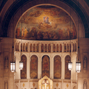 Mass on Sunday, at Christmas time, in the upper church in the 1990s